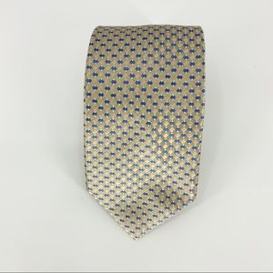 🦊 Michael Kors Yellow Blue Woven Pattern Tie